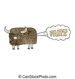 textured cartoon hairy cow farting - freehand textured...