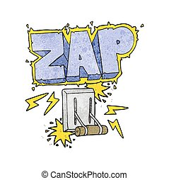 textured cartoon electrical switch zapping - freehand...