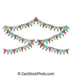 textured cartoon bunting flags - freehand textured cartoon...