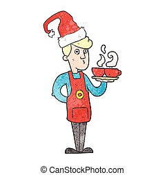 textured cartoon barista serving coffee at christmas -...