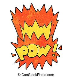 textured cartoon pow symbol - freehand textured cartoon pow...