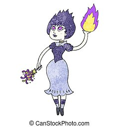 textured cartoon vampire girl casting fireball - freehand...