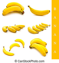 banana set - set of different banana images over white...