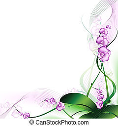 purple orchid abstract frame with copyspace for your text