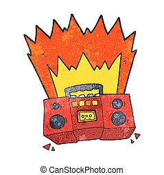 textured cartoon boom box - freehand textured cartoon boom...