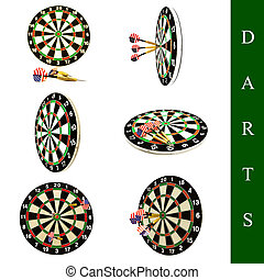 darts set - set of different darts images over white...