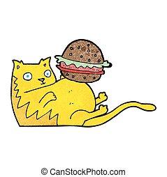 textured cartoon fat cat with burger