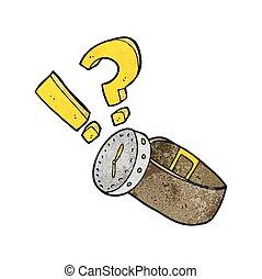 textured cartoon wrist watch - freehand textured cartoon...