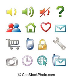 Icon set - Web icons set: internet theme 16 icons
