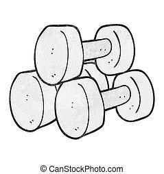 textured cartoon dumbbells - freehand textured cartoon...