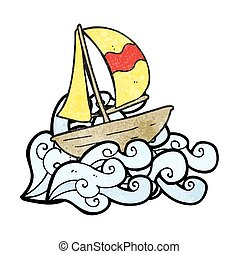 textured cartoon sail ship