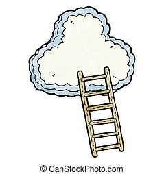 textured cartoon ladder to heaven - freehand textured...