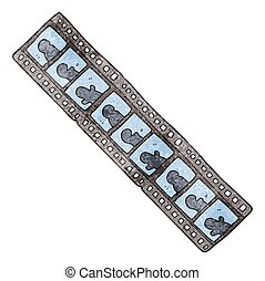 textured cartoon film strip - freehand textured cartoon film...