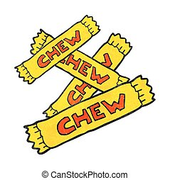 textured cartoon chew candy - freehand textured cartoon chew...