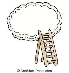 textured cartoon ladder to heaven - freehand textured...