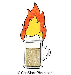 textured cartoon flaming tankard of beer - freehand textured...