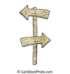 textured cartoon wooden direction sign
