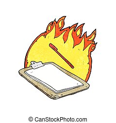 textured cartoon clip board on fire