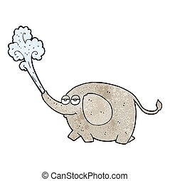 textured cartoon elephant squirting water - freehand...