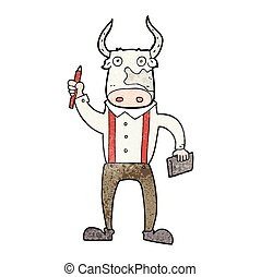 textured cartoon bull man - freehand textured cartoon bull...
