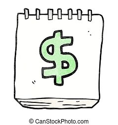 textured cartoon note pad with dollar symbol - freehand...