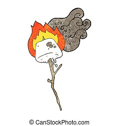 textured cartoon toasted marshmallow - freehand textured...