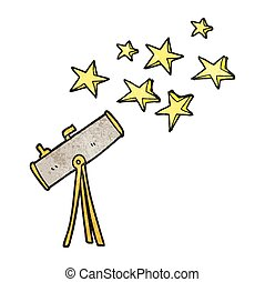textured cartoon telescope and stars