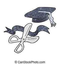 textured cartoon scissors cutting ribbon at graduation