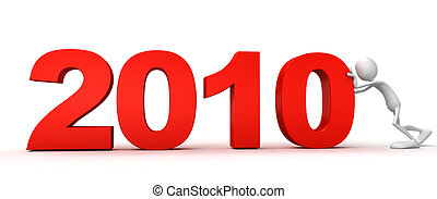 person pushes 2010 - TIME concept