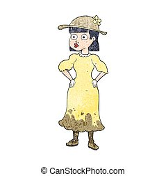 textured cartoon woman in muddy dress - freehand textured...