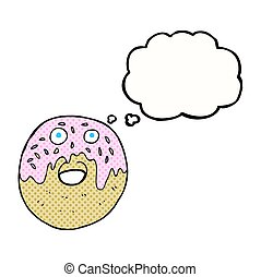 thought bubble cartoon doughnut - freehand drawn thought...