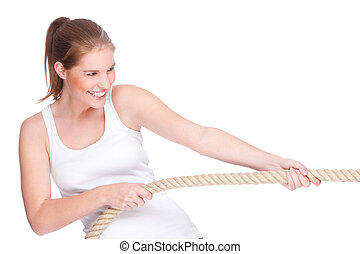 Tug of war - Full isolated studio picture from a young and...
