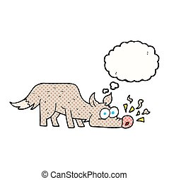 thought bubble cartoon dog sniffing - freehand drawn thought...