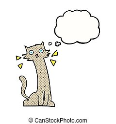 thought bubble cartoon cat - freehand drawn thought bubble...