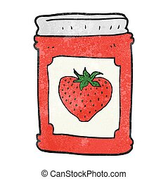 textured cartoon strawberry jam jar