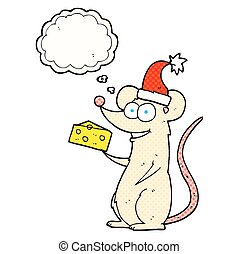 thought bubble cartoon christmas mouse - freehand drawn...