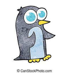 textured cartoon penguin with big eyes - freehand textured...