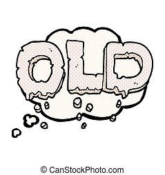 thought bubble cartoon word old - freehand drawn thought...