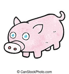 textured cartoon piglet - freehand textured cartoon piglet