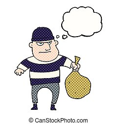 thought bubble cartoon burglar with loot bag - freehand...