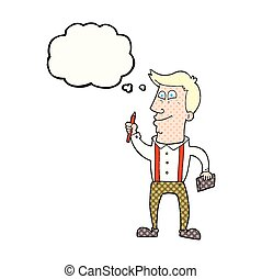 thought bubble cartoon man with notebook and pen