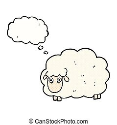 thought bubble cartoon farting sheep - freehand drawn...