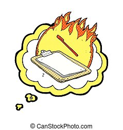 thought bubble cartoon clip board on fire - freehand drawn...