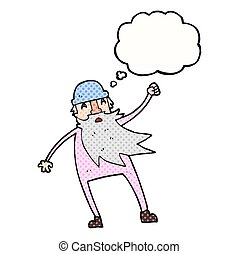 thought bubble cartoon old man in thermal underwear -...