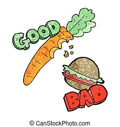 textured cartoon good and bad food - freehand textured good...