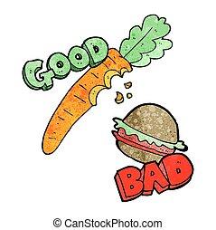 textured cartoon good and bad food