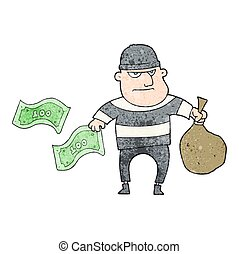 textured cartoon bank robber - freehand textured cartoon...