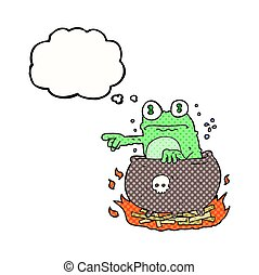 thought bubble cartoon halloween toad in cauldron - freehand...