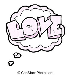 thought bubble cartoon love sign - freehand drawn thought...