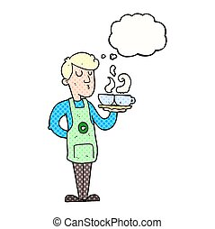 thought bubble cartoon barista serving coffee - freehand...